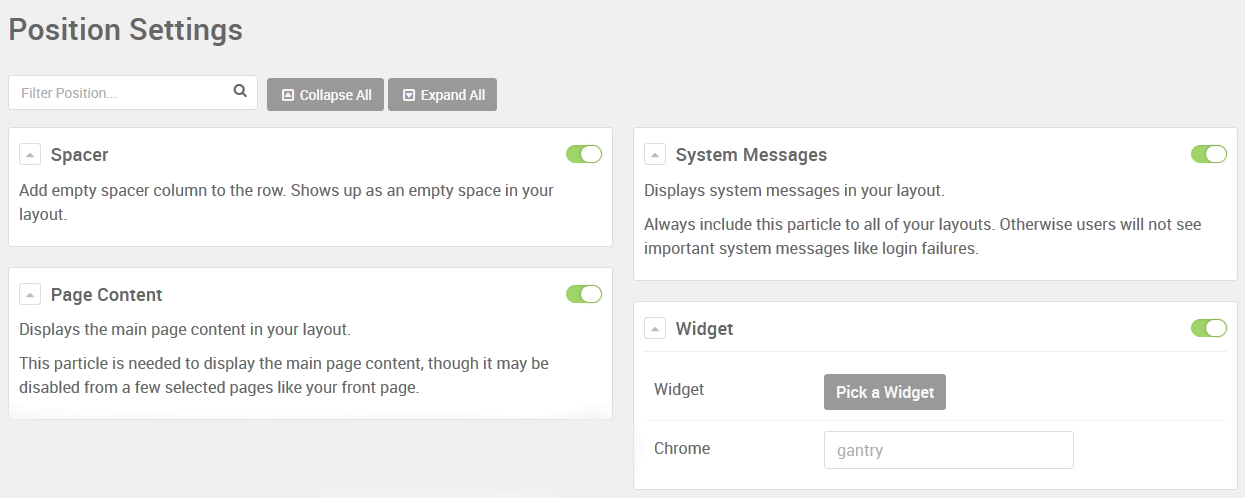 WordPress Position Settings