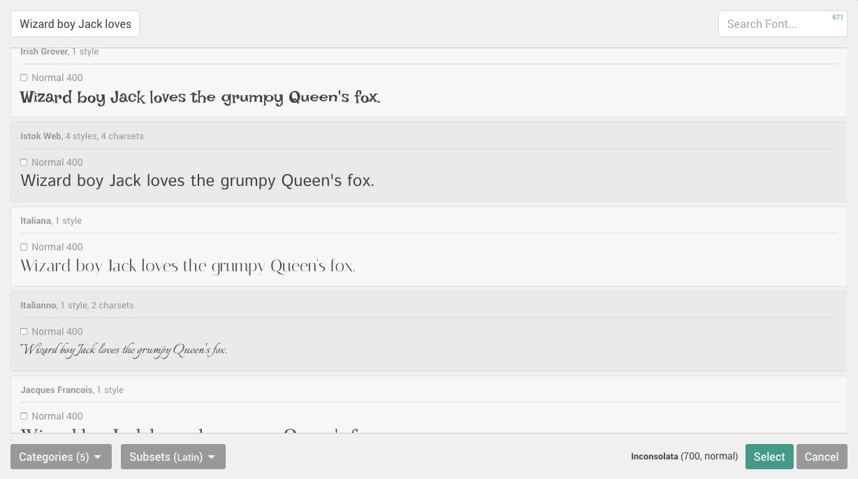 Browsing Fonts 1 2