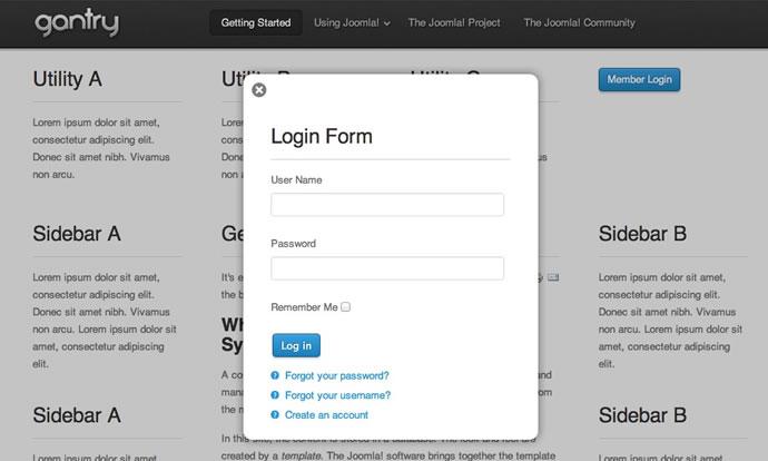 Creating a Popup Login Feature (Joomla) | Gantry Documentation